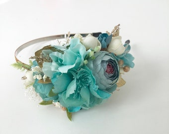 Teal flower crown- Floral crown- Well Dressed Wolf-  Flower headband- Flower girl Crown- Bride Flower Crown