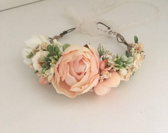Peach Floral Flower Crown