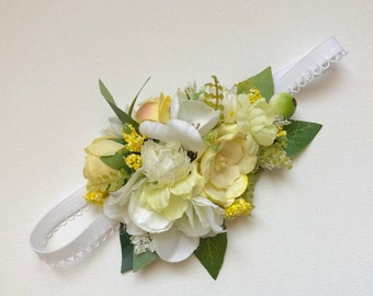Yellow flower headband, flower crown, baby flower crown, floral crown, yellow flower headband, flower halo, flower headiece