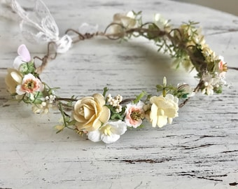 Yellow baby flower crown- toddler flower crown- well dressed wolf lucy