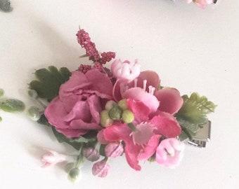 Pink Flower hair clip- Kids hair clip- Baby hair clip- no slip clip- flower hair piece