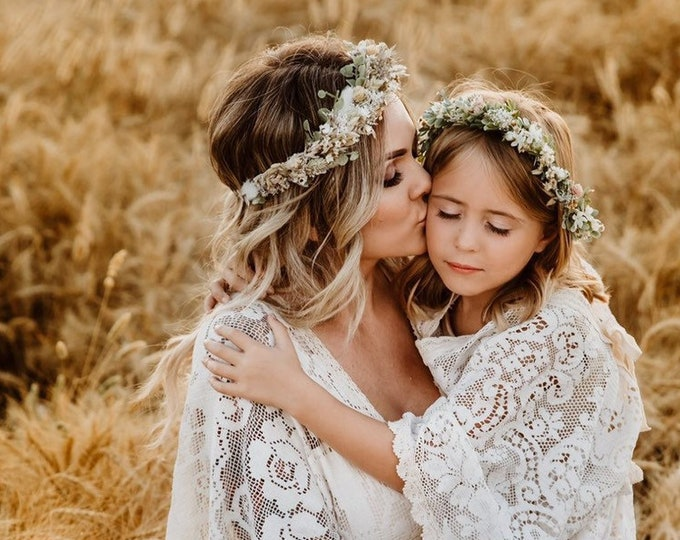 Featured listing image: Dried Flower Crown- Floral Crown- baby flower crown- Boho Flower Crown- Mommy and Me flower crown