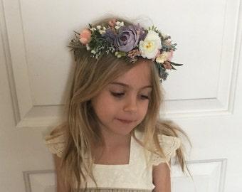 Wild flower crown- Flower crown- Well dressed wolf- Floral crown- Bridal Blush Crown- Flower Girl- S