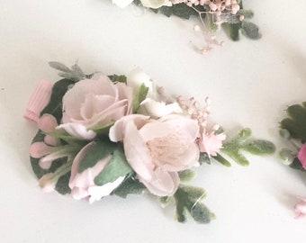 Pink Flower hair clip- hair clip- Baby hair clip- no slip clip- flower hair piece