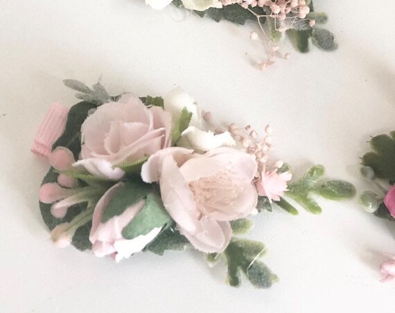 Pink Flower hair clip- hair clip- Baby hair clip- no slip clip- flower hair piece