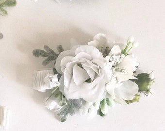 White Flower hair clip- Kids hair clip- Baby hair clip- no slip clip- flower hair piece