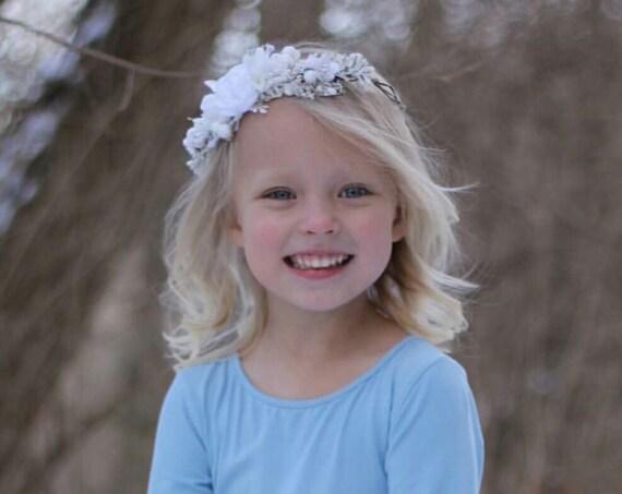 White Flower Crown- Baptism Flower Crown- Bridal Flower crown- Flower Girl