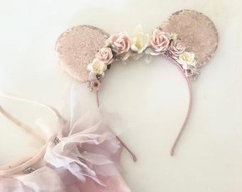 Rose Gold Mouse Ear Headband- Flower Crown