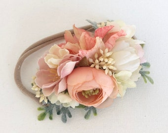 Peach flower crown Headband- Baby girl headbands- baby headband- Flower Crown Headband