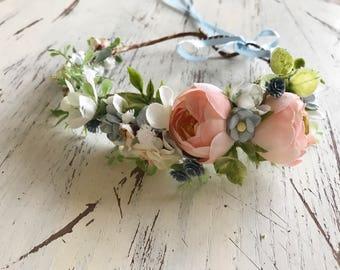 Flower Crown- Floral Crown- Baby Flower Crown- Bridal Flower Crown- Flower Crowns- Flower Girl Flower Crown