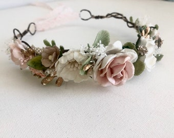 Blush Flower Crown- Floral Crown- Baby Flower Crown- Bridal Flower Crown- Mommy and me Flower Crowns- Flower Girl Flower Crown