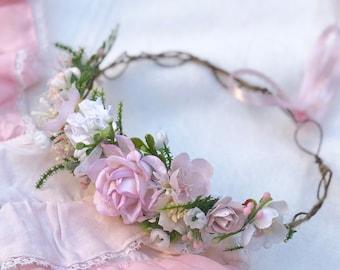 Pink Peonies Flower Crown