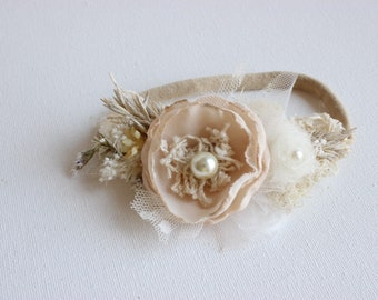 Soft beige ivory headband- Girls headband- baby flower crown headband