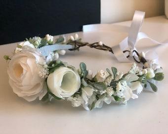 Flower Crown- Baby Flower Crown- wedding headband- Flower Crowns- Flower Girl Flower Crown