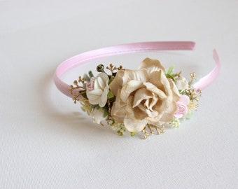 Champagne flower crown headband