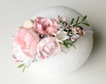 Pink and white floral headband