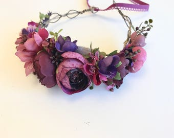 Plum  floral crown, floral crown, well dressed wolf flower crown, bridal crown