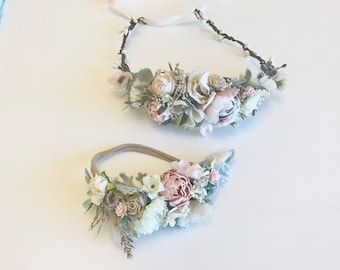 Neutral and Blush Flower Crown Halo