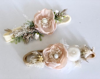 Soft beige ivory headband- Girls headband- baby flower crown headband