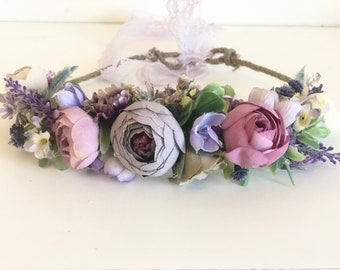 Purple Flower Crown- Mommy and me Flower Crown- -Baby Flower Crown Flower Girl Flower Crown
