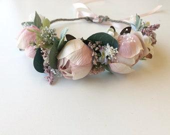 Blush pink Flower Crown- Floral Crown- Baby Flower Crown- Bridal Flower Crown- Mommy and me Flower Crowns- Flower Girl Flower Crown