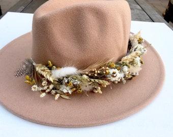 Dried flower wool fedora hat, droed flower crown, dried floral hat