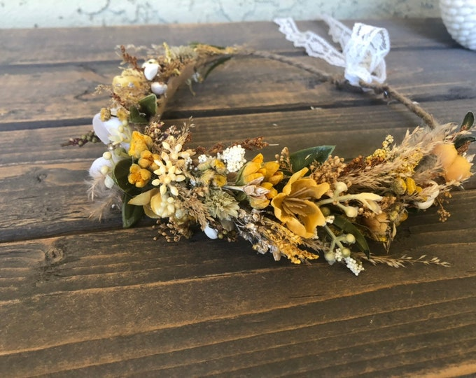 Featured listing image: Dried flower crown-Baby Flower Crown- Mustard flower crown- Fall Wedding- Wedding Flower Crown- Boho Flower Crown