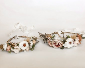 Mallory Flower Headpiece Sparkly Accessories for Adults and Kids Ivory