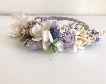 Lavender natural dried floral silk tie back