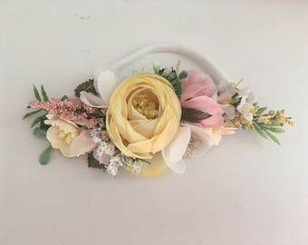 Yellow baby Flower crown- flower girl headband- baby girl headbands