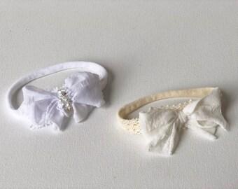 Ruffle knot bow headband