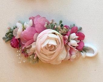 Hot pink Flower Crown Headbands- baby flower crown