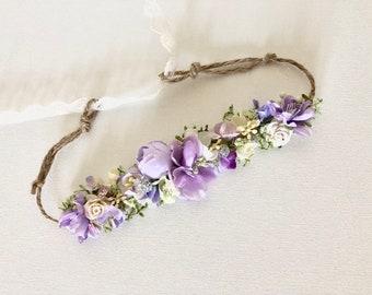 Baby Flower Crown- Floral Crown- lavender Flower Crown- Bridal Flower Crown- - Flower Crowns- Flower Girl Flower Crown- Newborn