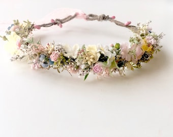 Dried Flower Crown- Floral Crown- Baby Flower Crown- Bridal Flower Crown- Flower Crowns- Flower Girl Flower Crown- Newborn