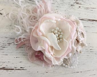 mauve Hair Clip- Flower Hair Clip- Hair Accessories- Hair Flower- Flower Girl Clip- Bridal Hair Clip- Baptism Hair Clip- Wedding Hair Piece