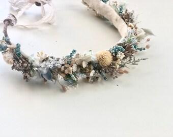Dried  Flower Crown- Beach Floral Crown- Baby Flower Crown- Bridal Flower Crown- Flower Crowns- Flower Girl- Naomi Rain
