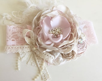 Baby Girl Headband, DollCake Headband- Baby Headband- Flower Girl Headband, Well Dressed Wolf-  - TUTU Du Monde- Lace Headband
