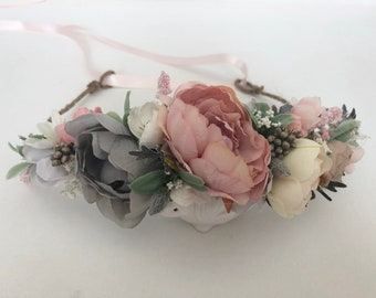 Pink Gray Flower Crown- Flower Crowns- Baby Flower Crown- Bridal Flower Crown-  Flower Girl Flower Crown
