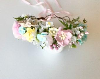 Pink Flower crown- baby flower crown- Flower Girl crown- well dressed wolf