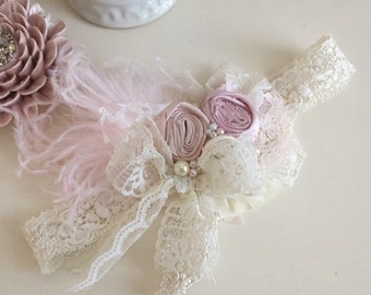 Baby Girl Headband- Baby Headband- Flower Girl Headband -Newborn Ivory Headband- Girls First Birthday- Toddler Headband