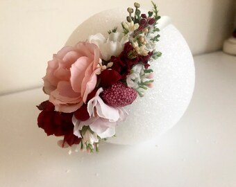 Pink Red flower crown- floral headband- flower headband