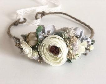 Griege flower crown- Well Dressed Wolf flower crown- bridal crown- flower girl crown