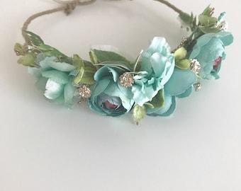 a929c018734 Teal flower crown- Floral crown- Flower Girl crown