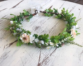 Flower Crown- baby flower crown- greenery halo- Mommy and Me flower crown