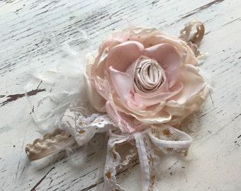 Shabby Chic Pink headband- Baby Girl Headband- baby Headband- Flower Girl Headband- matilda jane- Persnickety Headband- Photo Prop