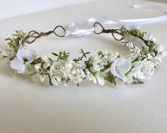 White Flower Crown- Baptism Flower Crown- Baby Flower Crown- Baptism headband- Flower Crowns- Flower Girl Flower Crown- Newborn headband