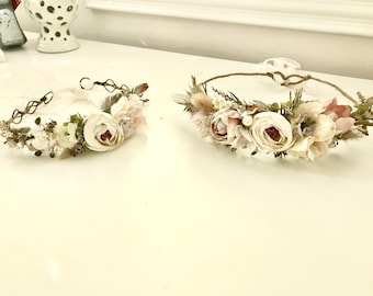 Flower Crown- Floral Crown- Baby Flower Crown- Bridal Flower Crown- - Flower Crowns- Flower Girl Flower Crown- Newborn