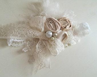 Baby Girl Headband- Baby headband- Flower Girl Headband- Well Dressed Wolf-  Newborn headband-Toddler Headband