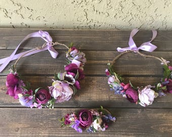 Purple flower crown- Floral crown- Mommy and me flower Crown
