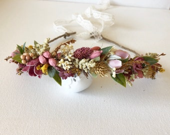 Dried Fall Flower Crown- Baby Flower Crown-  Wedding Flower Crown- Boho Flower Crown